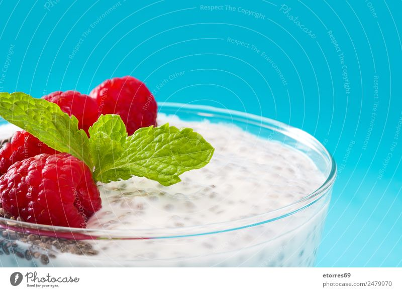 Chia yogurt with raspberries in a glass cup chia Yoghurt Raspberry Dairy Fruit Healthy Healthy Eating Vegan diet Vegetarian diet superfood Natural Delicious