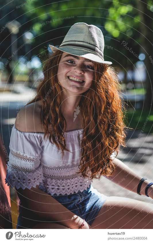 Outdoor portrait of young beautiful happy redhead girl Lifestyle Elegant Style Happy Beautiful Human being Feminine Young woman Youth (Young adults) Woman