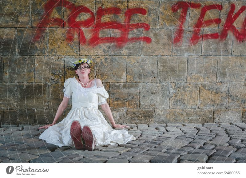 Woman Human being Youth (Young adults) Young woman Adults Feminine Wall (barrier) Sit Uniqueness Wedding Cobblestones Bride Wedding dress