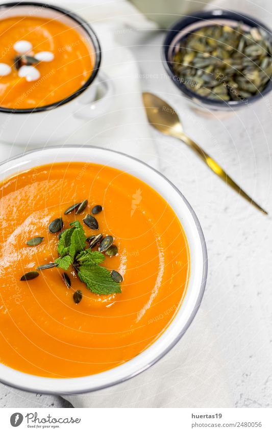 Cream of pumpkin in bowl Healthy Eating Yellow Autumn Health care Food Orange Nutrition Vegetable Tradition Plate Bowl Dinner Diet Vegetarian diet Lunch