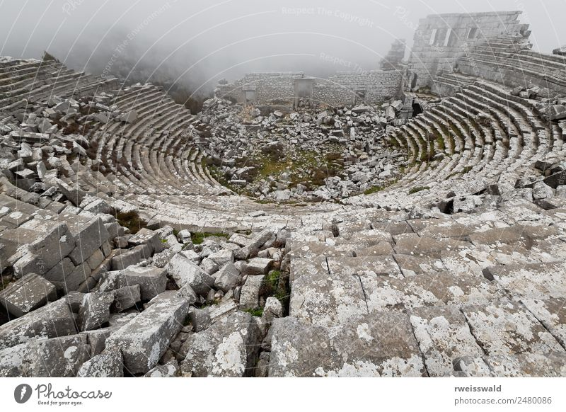 The Hellenistic-Roman theater misty ruins. Termessos-Turkey-1950 Vacation & Travel Town Beautiful Loneliness Calm Architecture Spring Building Time Art Playing