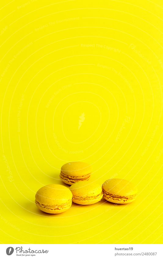 Delicious macaron with yellow background Food Dessert Sour Yellow Colour Macaron isolated cake sweet colorful french biscuit Bakery candy snack sugar Gourmet