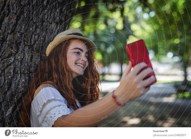 Outdoor portrait of young beautiful happy redhead girl Lifestyle Elegant Style Happy Beautiful Telephone Human being Feminine Young woman Youth (Young adults)