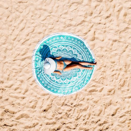Aerial Drone View Of Woman In Swimsuit Bikini Relaxing Lifestyle Exotic Beautiful Relaxation Leisure and hobbies Vacation & Travel Adventure Freedom Summer