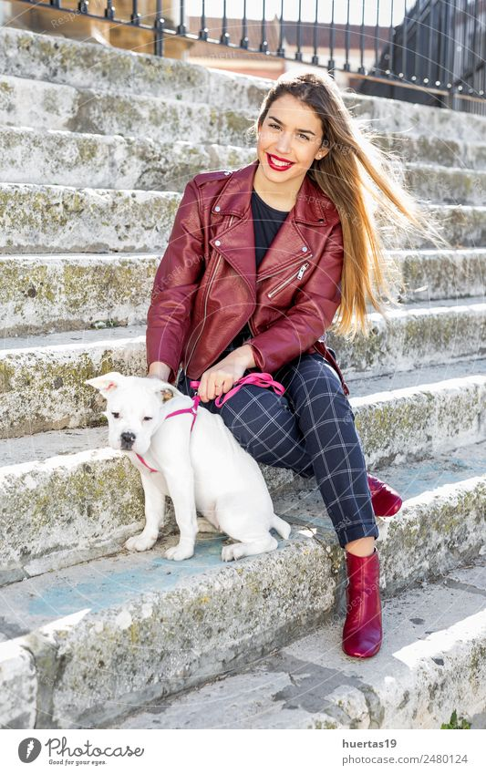 Beautiful blonde girl with boxer dog Woman Human being Dog Youth (Young adults) Young woman Animal 18 - 30 years Adults Feminine Happy Fashion Friendship Blonde