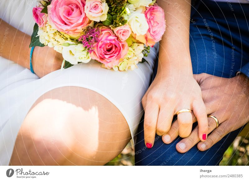 A bridal bouquet the day of the wedding Elegant Design Beautiful Feasts & Celebrations Wedding Woman Adults Man Couple Hand 2 Human being 18 - 30 years