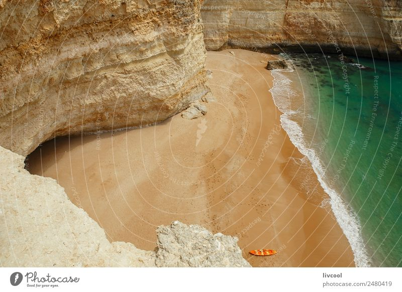 Canoe on the beach, Algarve coast Lifestyle Relaxation Vacation & Travel Tourism Trip Adventure Summer Sun Beach Ocean Nature Landscape Water Clouds Spring Rock