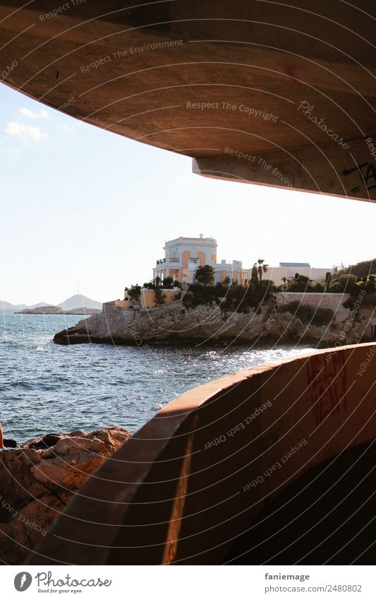 le villa jaune II Town Port City Outskirts Esthetic Villa Underpass Marseille Mediterranean sea House (Residential Structure) Provence Southern France Art