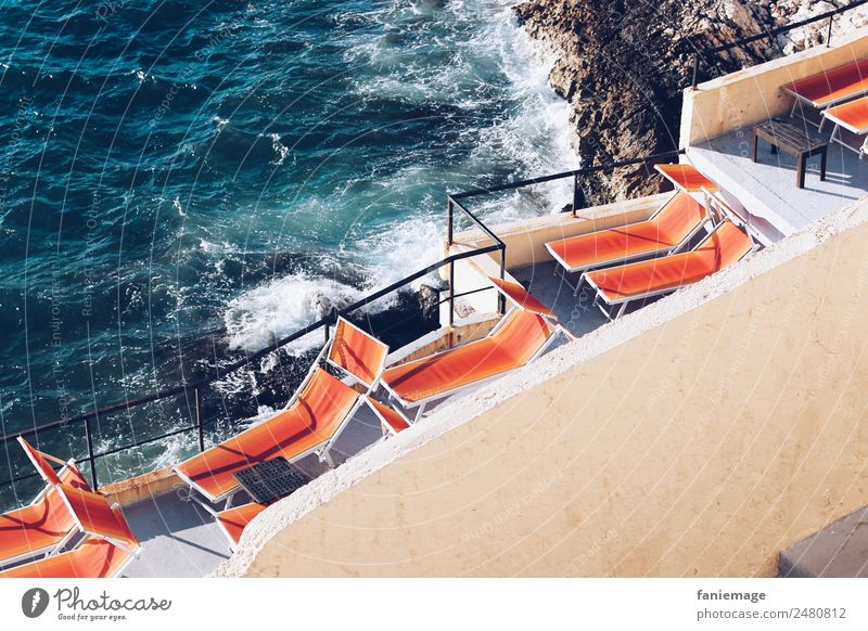 sunbath Lifestyle Swimming & Bathing Deckchair Marseille Provence Mediterranean sea Waves Coast Lie Sunbathing Sunlight Orange Blue Corniche Vacation & Travel