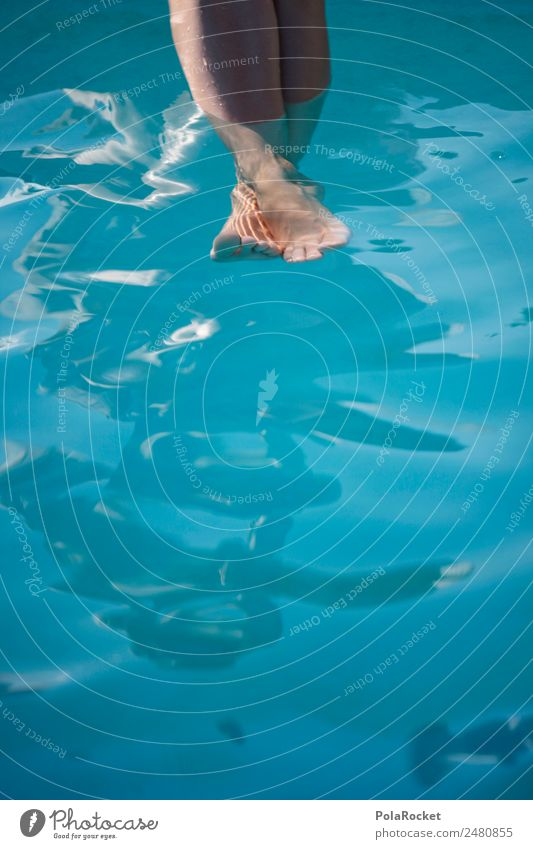 Human being Vacation & Travel Summer Blue Relaxation Esthetic Idyll Summer vacation Swimming pool Barefoot Surface of water Summery Refrigeration Vacation photo
