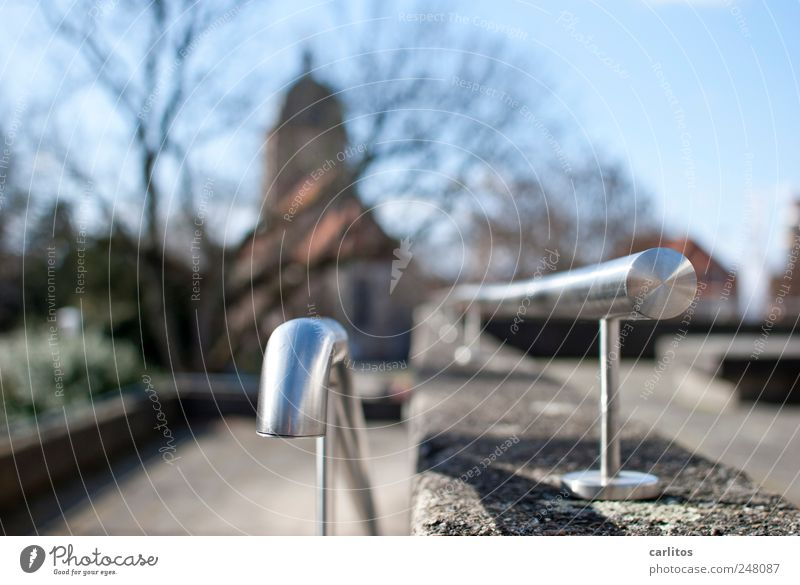 Sky Tree Cold Wall (barrier) Glittering Concrete Church Perspective Circle Round Branch Beautiful weather Handrail Banister Bleak Curved