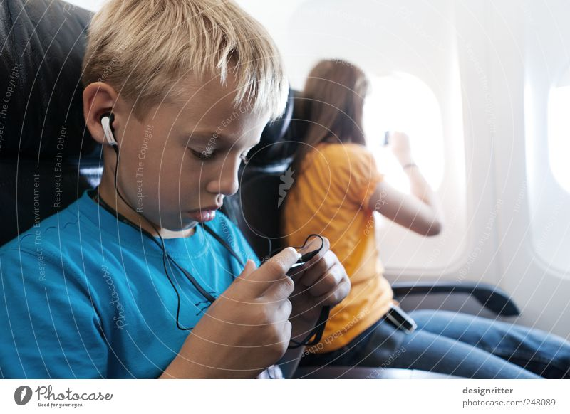 Child Girl Summer Vacation & Travel Far-off places Boy (child) Dream Music Airplane Flying Infancy Aviation Dive Curiosity Listening