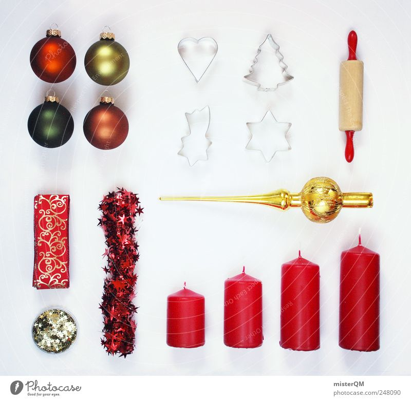 Christmas & Advent Red Feasts & Celebrations Art Gold Design Shopping Esthetic Lifestyle Candle Decoration Concentrate Creativity Card Glitter Ball