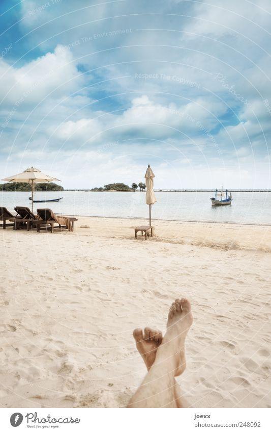 chan mai pai Relaxation Calm Vacation & Travel Summer Summer vacation Sunbathing Beach Ocean Island Life Legs Feet 1 Human being Nature Water Sky Clouds Horizon