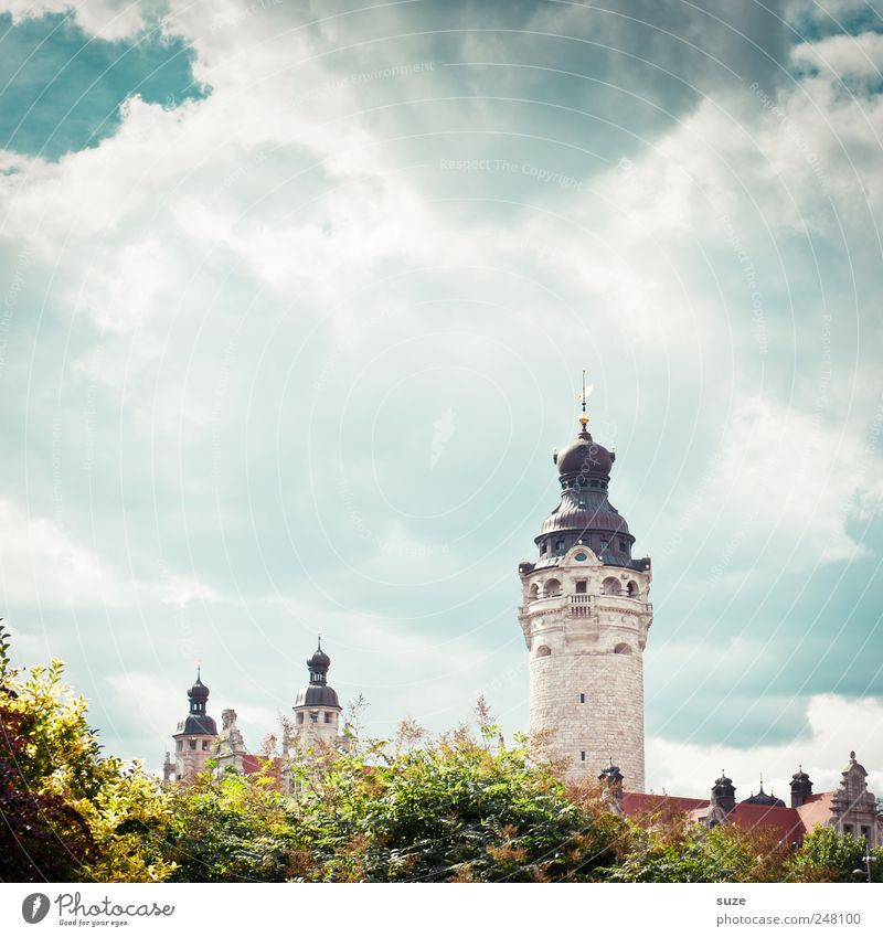 little castle Sightseeing Culture Environment Sky Clouds Climate Beautiful weather Tree Bushes City hall Tower Architecture Landmark Historic Green Leipzig