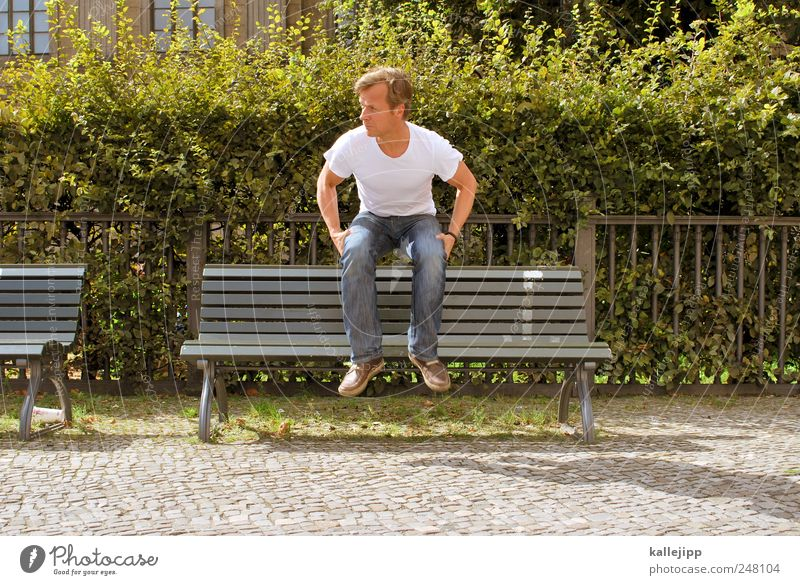 Human being Man Plant Adults Sit Masculine Break Bushes Bench Handrail Hover Hop Hedge Park bench