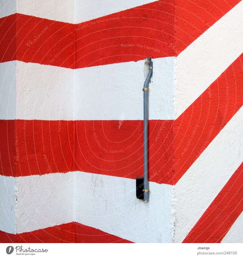 lead Style Design Wall (barrier) Wall (building) Line Stripe Sharp-edged Simple Red White Perspective Illustration Colour photo Exterior shot Abstract Pattern
