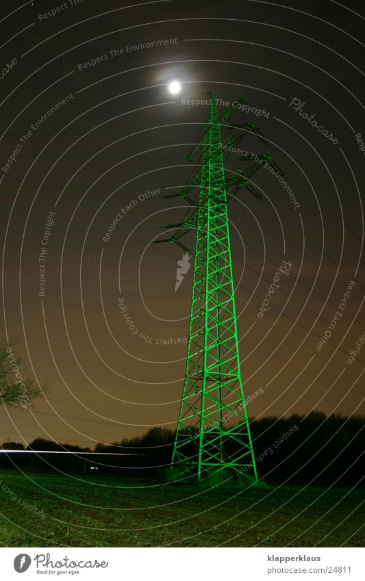 Green electricity Electricity pylon Night Electrical equipment Technology Moon Lighting