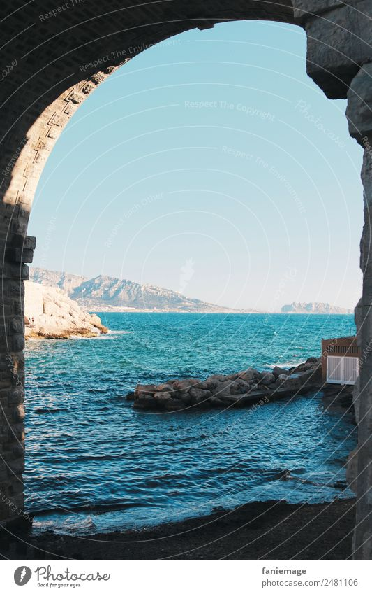 Gateway to the world Nature Port City Exceptional Archway Marseille Corniche Ocean Water Warmth Cold Shadow Bay anse de la fausse monnaie Provence