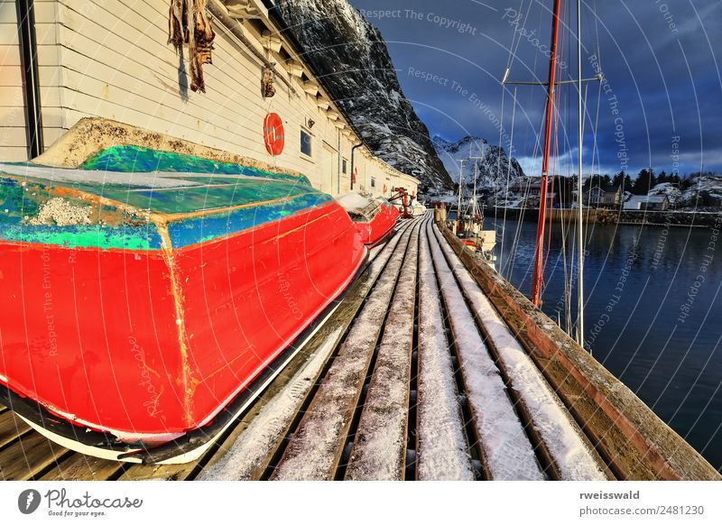 Small fishing boats upon wooden pier. Hamnoy-Lofoten-Norway-0232 Fish Seafood Fishing (Angle) Vacation & Travel Tourism Sun Snow Winter vacation Mountain Hiking