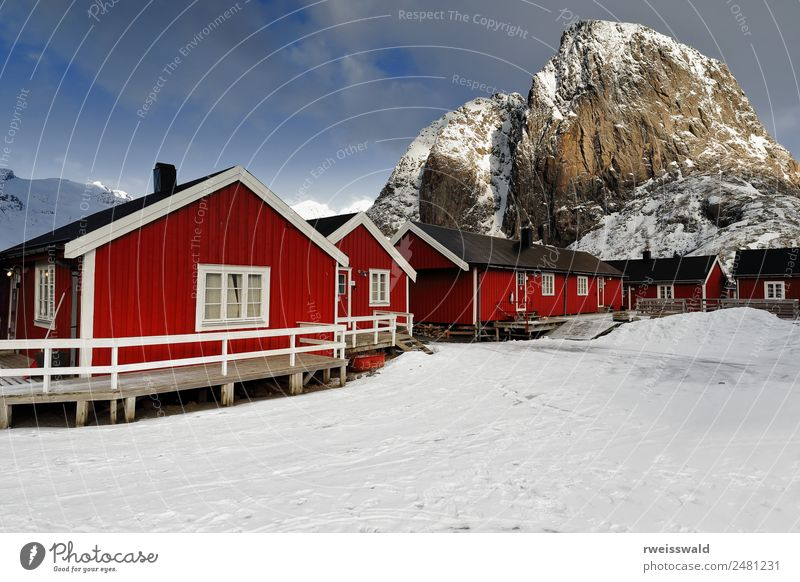 Rorbuer cottages-Festhaeltinden mt. Hamnoy-Lofoten-Norway-0243 Sky Nature Vacation & Travel Blue Beautiful Landscape Sun White Red Relaxation