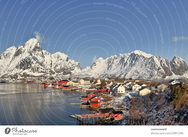 Reinevagen gulf-mts.over Reinefjorden. Reine-Lofoten-Norway-0283 Sky Nature Vacation & Travel Blue Town Beautiful Colour Water Green Landscape Sun White Red