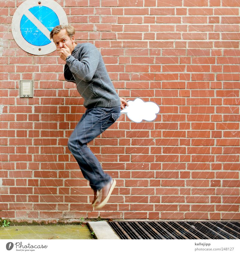 Human being Man Joy Adults Nutrition Life Wall (barrier) Jump Funny Air Masculine Brick Laws and Regulations Comic Shame 30 - 45 years