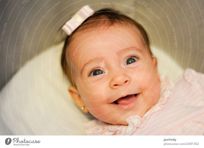 Baby girl two months old smiling Joy Happy Beautiful Face Life Child Camera Human being Girl Infancy 1 3 - 8 years Smiling Laughter Happiness Small Cute White