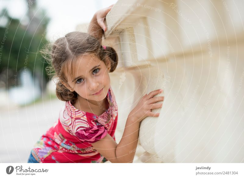 Adorable little girl combed with pigtails Lifestyle Joy Happy Beautiful Face Summer Child Human being Girl Woman Adults Infancy 1 3 - 8 years Nature Park