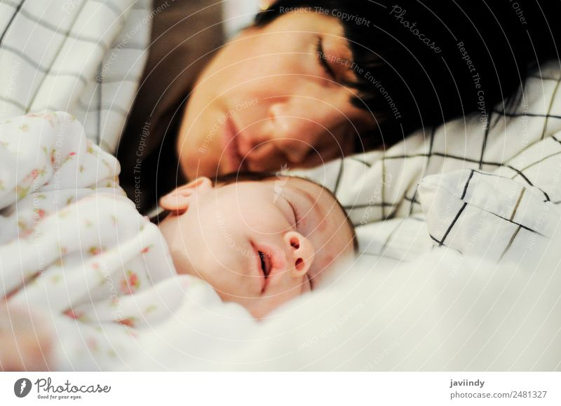 Mother and cute little baby girl sleeping Happy Beautiful Life Bedroom Child Human being Feminine Baby Woman Adults Parents Family & Relations Infancy 2