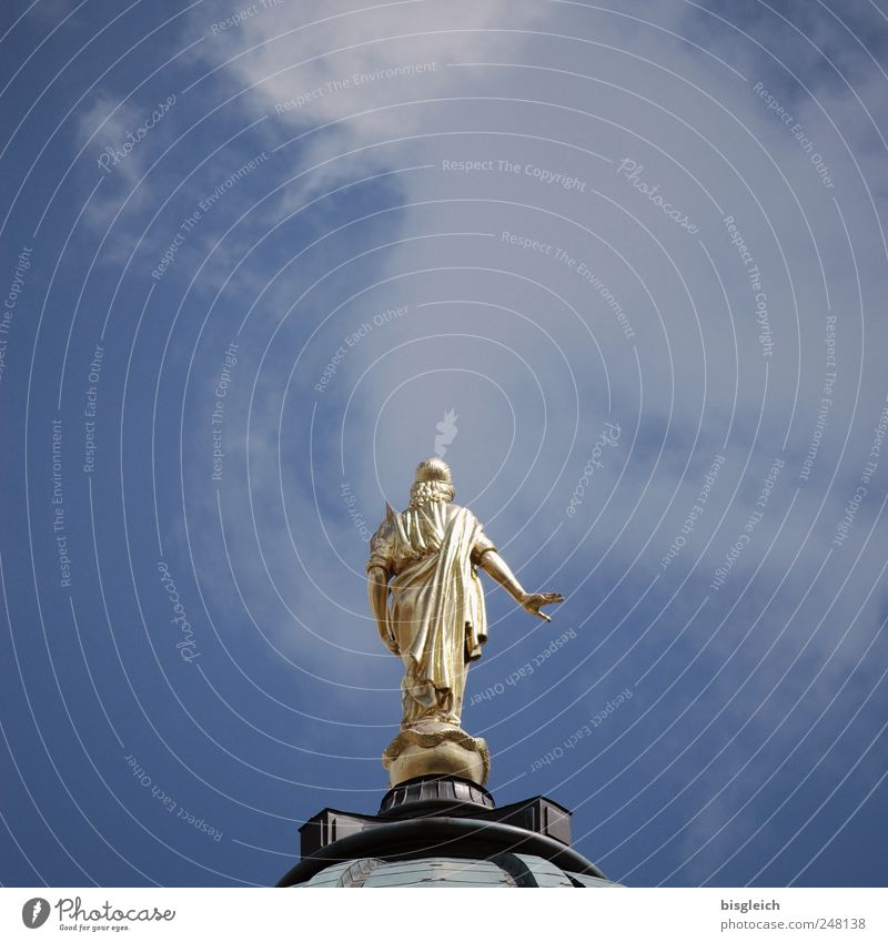 Angel above the city Berlin Europe Church Dome Roof Tourist Attraction Berlin Cathedral Blue Gold Sky Domed roof Colour photo Subdued colour Exterior shot