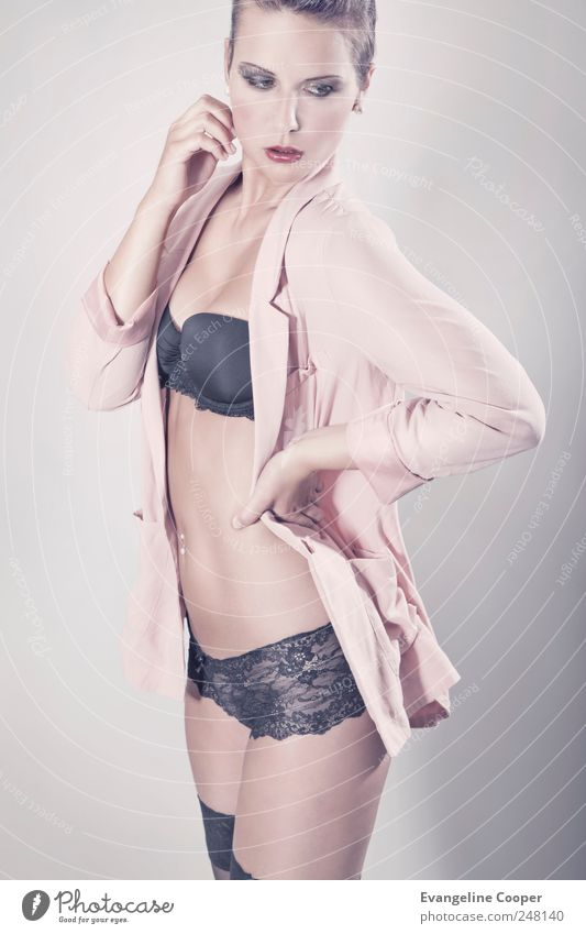 Woman Human being Youth (Young adults) Beautiful Feminine Eroticism Adults Style Fashion Body Pink Stand Cloth Thin Jacket Shirt