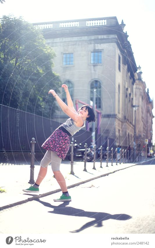 Human being Youth (Young adults) Beautiful City Joy Feminine Life Jump Happy Movement Contentment Happiness Esthetic Clothing Uniqueness
