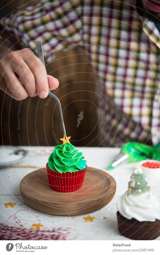 Cupcake tree Dessert Winter Decoration Feasts & Celebrations Christmas & Advent Tree Bright Green White Colour background Baking christmas colorful copy cream