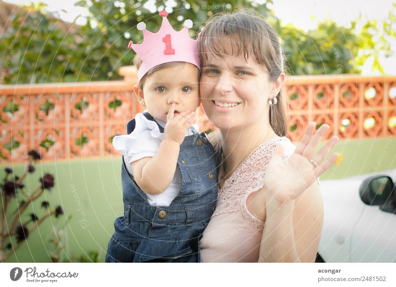 Portrait of a mother with her daughter Woman Human being Calm Adults Lifestyle Love Emotions Feminine Feasts & Celebrations Infancy Birthday Happiness Baby