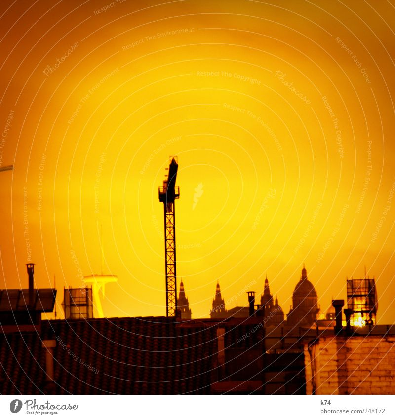 the city is burning and the fire is hot Night sky Town Downtown Deserted Church Dome Castle Tower Building Roof Tourist Attraction Hot Yellow Construction crane