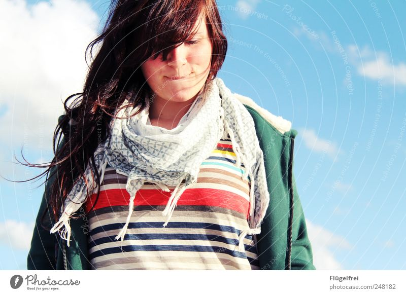 summer feeling Feminine Young woman Youth (Young adults) 1 Human being To enjoy Stripe Scarf Hair and hairstyles Blow Clouds Sky Smiling Think Happy Snapshot