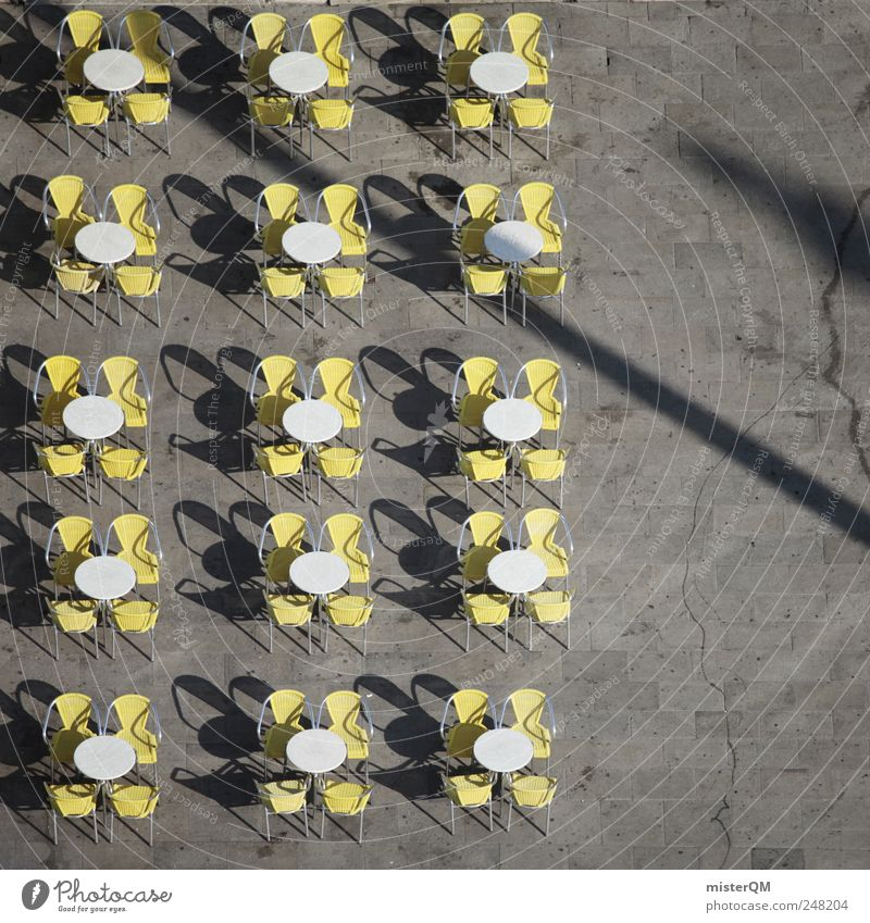 in rank and file Places Marketplace Symmetry Café Chair Table Summer White Yellow Gray Restaurant Gastronomy Outdoor festival Meeting point Seating