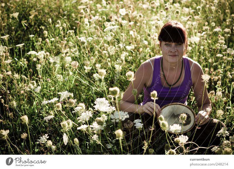 Woman Green Flower Colour Relaxation Meadow Contentment Uniqueness Violet Curiosity Creativity Bouquet