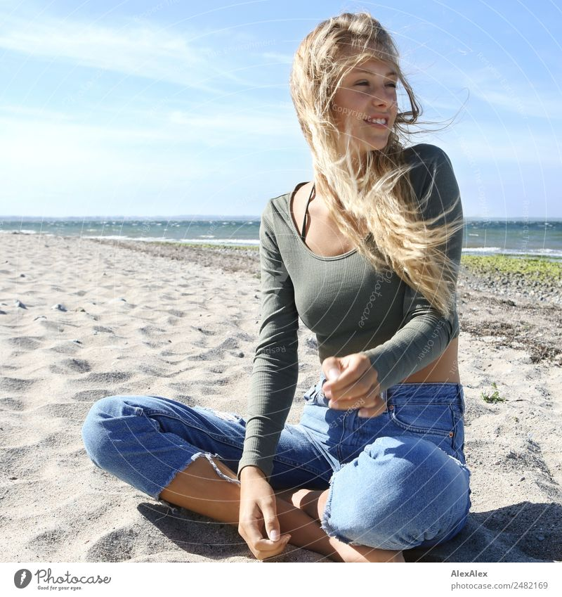 Youth (Young adults) Young woman Summer Beautiful Landscape Sun Relaxation Joy Beach 18 - 30 years Adults Lifestyle Natural Happy Sand Blonde