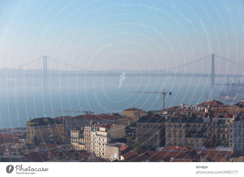 Lisbon, Ponte 25 de Abril Vacation & Travel City trip Construction site Water Cloudless sky Horizon Summer Beautiful weather Fog River Tejo Tejo Bridge