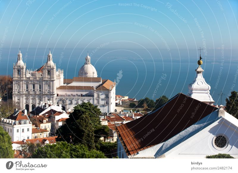São Vicente de Fora - Lisbon Vacation & Travel City trip Summer Cloudless sky Beautiful weather Tree River Tejo House (Residential Structure) Church Dome
