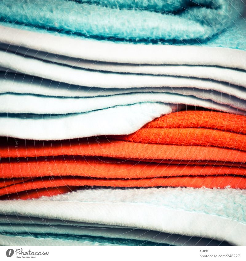 Full coverage Stripe Cuddly Blanket Textiles Material Stack Patch of colour Light blue Red Colour photo Multicoloured Interior shot Close-up Detail Abstract