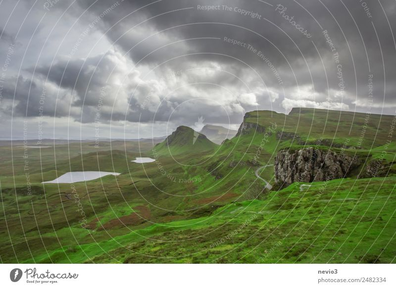 The Quiraing on the Isle of Skye in Scotland Landscape Clouds Storm clouds Climate Weather Exceptional Natural Beautiful Calm Longing Wanderlust Island