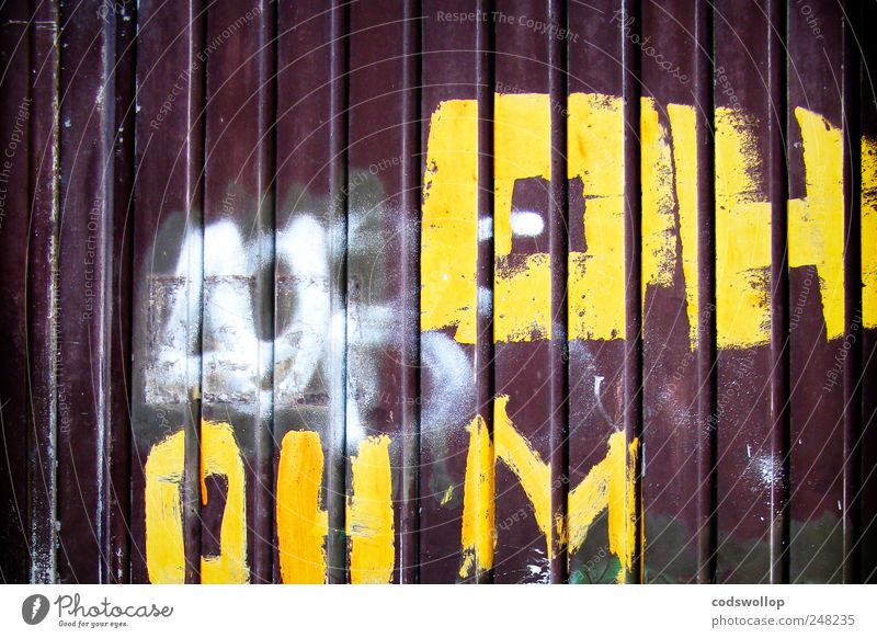 White Yellow Graffiti Brown Door Facade Characters Communicate Rebellious Symbols and metaphors