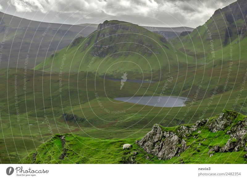 The Quiraing on the Isle of Skye in Scotland Landscape Grass Foliage plant Meadow Lake Discover Relaxation Vacation & Travel Hiking Green Spring fever