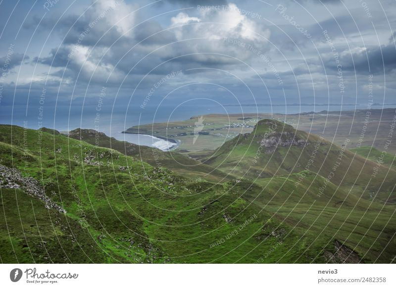 View from Quiraing Landscape Green Variable Weather Isle of Skye Clouds Clouds in the sky Scotland High plain Hill Coast Bay Uniqueness Famousness Green space