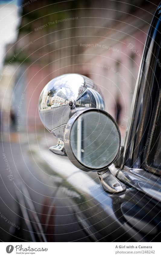 Old Black Street Car Glittering Transport Cool (slang) Illuminate Round Mirror Vehicle Vintage car Old town Means of transport Istanbul