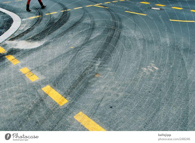 Human being Adults Street Lanes & trails Line Going Transport Driving Traffic infrastructure Curve Motoring Pedestrian Skidmark Dashed line