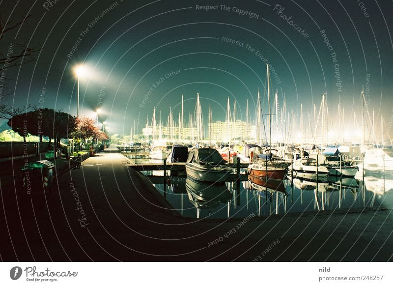nocturnal active Lifestyle Luxury Vacation & Travel Ocean Deserted Harbour Navigation Yacht Motorboat Sailboat Yacht harbour Blue Calm Colour photo